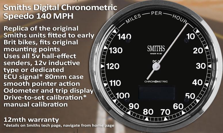 Digital Chronometric Speedometer And Tachometer Range