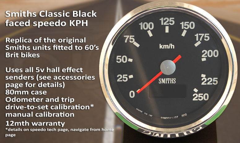 Smiths black-face digital speedometer and tachometer range