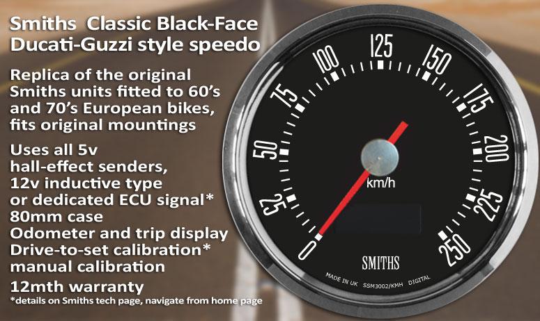 Smiths black-face digital speedometer and tachometer range